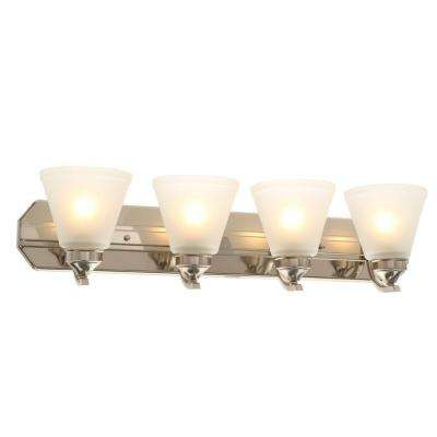 4-Light Brushed Nickel Vanity Light with Frosted Shades