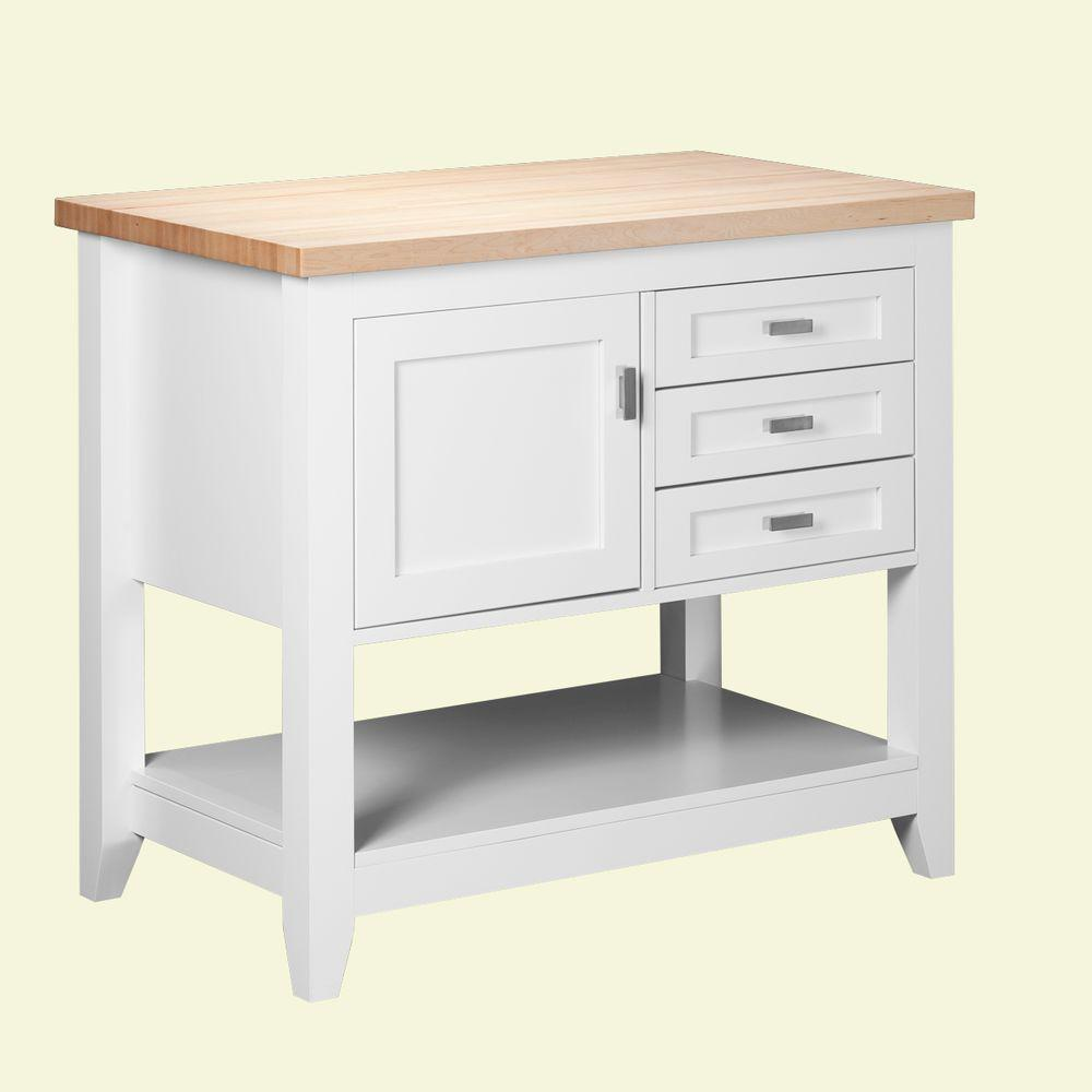 Strasser Woodenworks Tuscany 42 in. Kitchen Island in Satin White with Maple Top-DISCONTINUED