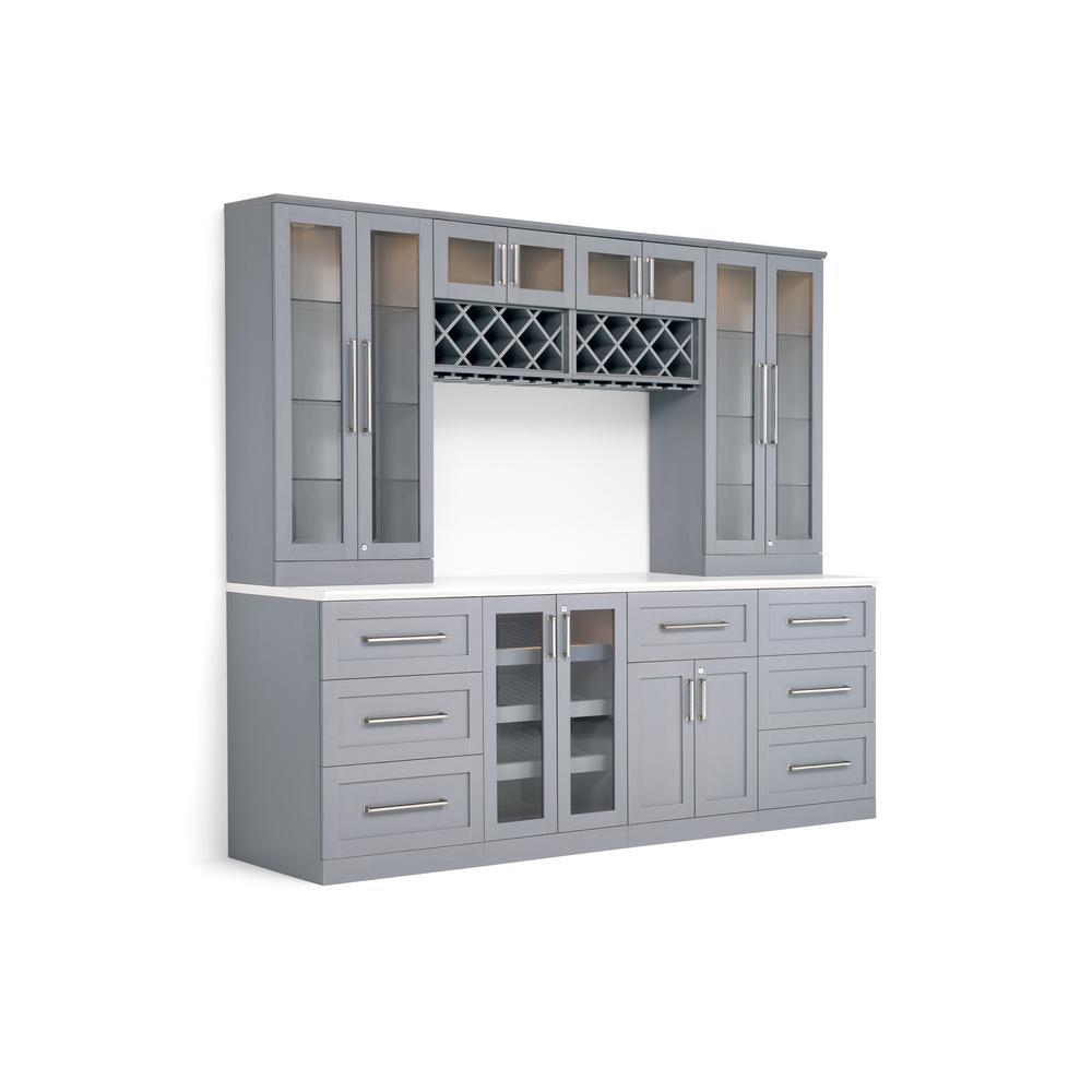 Home Bar 9-Piece Gray Shaker Style Bar Cabinet