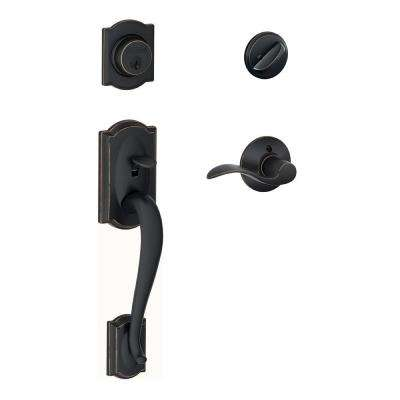 Camelot Aged Bronze Single Cylinder Deadbolt with Accent Lever Door Handleset