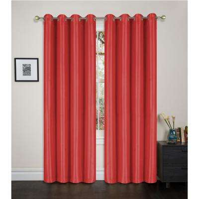 Blackout Maddie 84 in. L Blackout Grommet Top Curtain in Burgundy