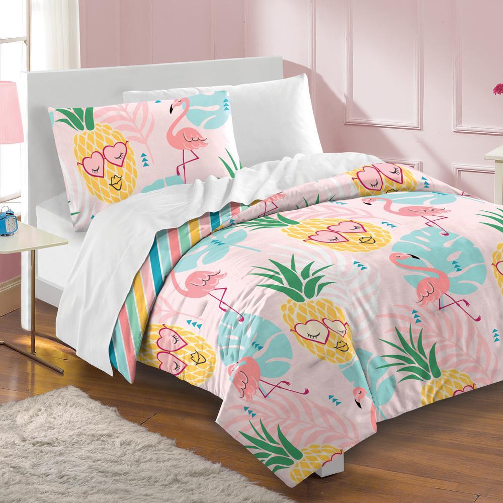 3-Piece Pink Pineapple Full Comforter Set