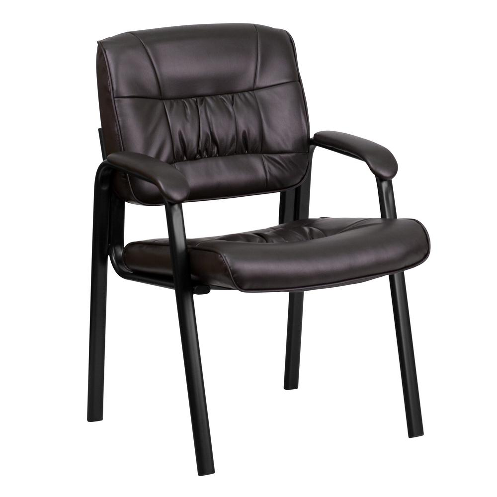 Brown Leather Executive Side Chair with Black Frame Finish