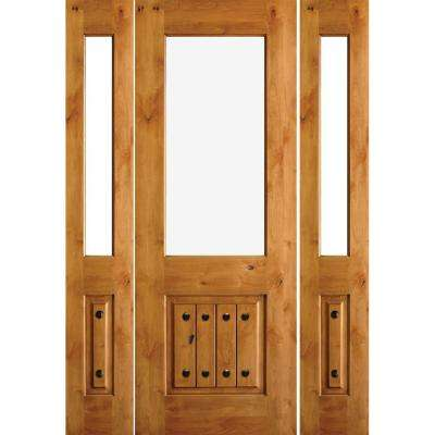 64 in. x 80 in. Mediterranean Knotty Alder Half Lite Unfinished Right-Hand Inswing Prehung Front Door with Sidelites