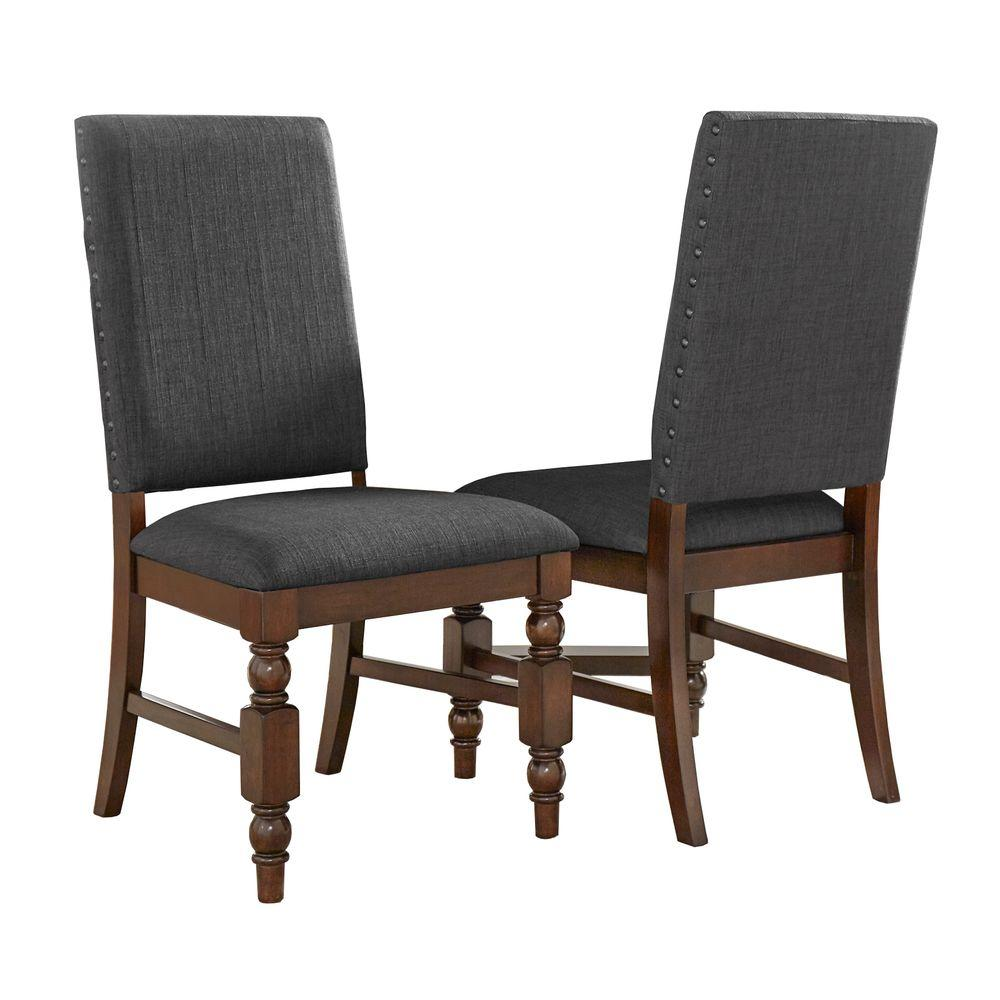 HomeSullivan Maxine Charcoal Linen Dining Chair (Set Of 2)