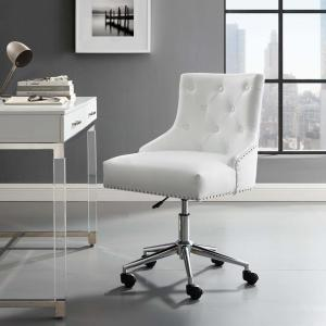 Modway Regent White Tufted On Swivel Faux Leather Office