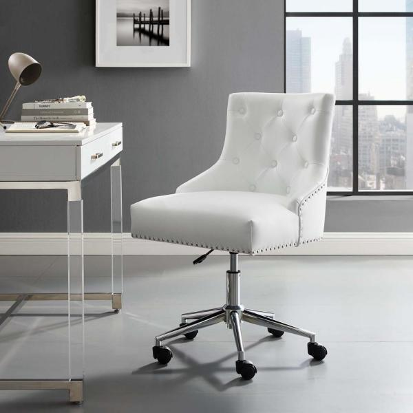 Modway Regent White Tufted Button Swivel Faux Leather Office Chair Eei 3608 Whi The Home Depot