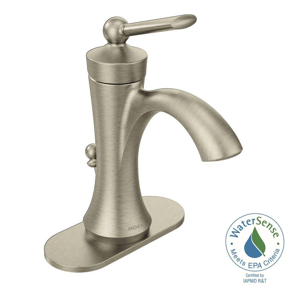 Moen Wynford Single Hole 1 Handle High Arc Bathroom Faucet In Brushed Nickel 4500bn The Home Depot