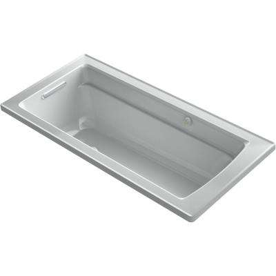 Archer 66 in. Rectangular Drop-in Air Bath Bathtub with Bask Heated Surface in Ice Grey