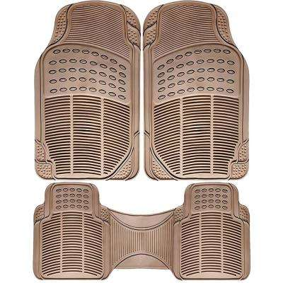 Universal Fit Beige 3-Piece Full Set Ridged Heavy Duty Rubber Floor Mat