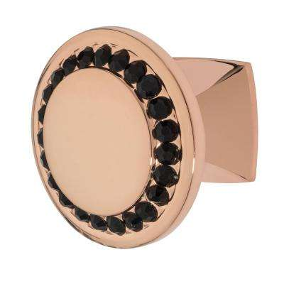 Isabel 1-1/4 in. Rose Gold with Black Crystal Cabinet Knob