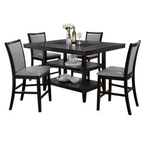 Home Source Grazia Espresso 5-piece Counter Height Dining Set, 1 Table with  Storage and 4 Chairs