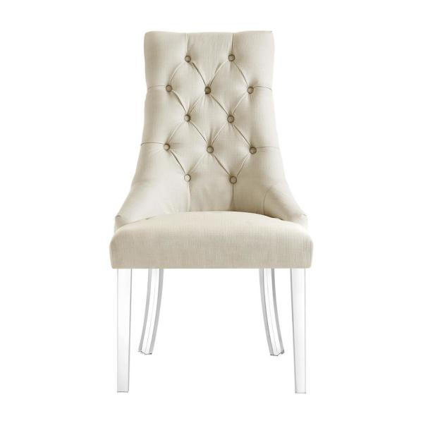 Inspired Home Winona Cream White Linen Acrylic Leg Armless Dining Chair Set Of 2 Ad53 03cw2 Hd The Home Depot