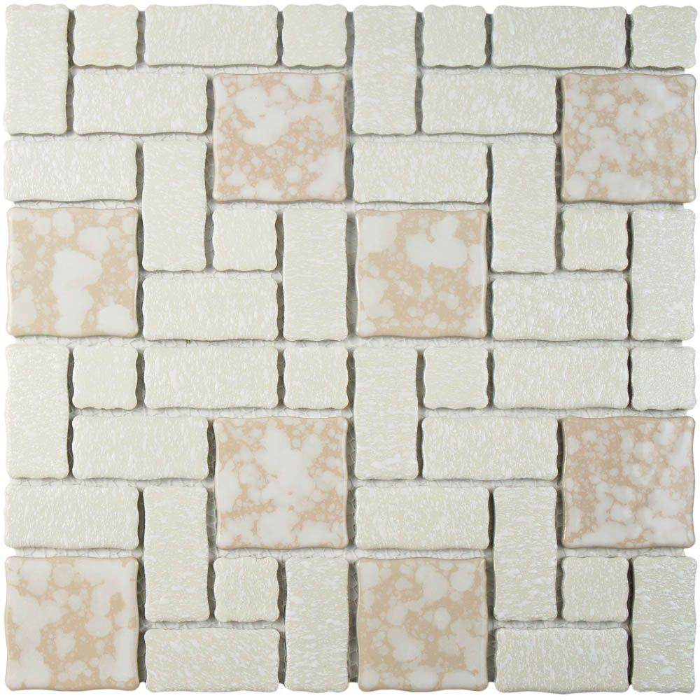 Merola Tile Academy Bone 11-3/4 in. x 11-3/4 in. x 5 mm Porcelain Mosaic Tile