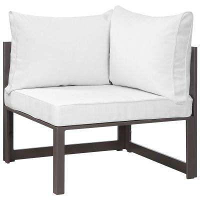 Fortuna Corner Aluminum Outdoor Patio Lounge Chair in Brown with White Cushions