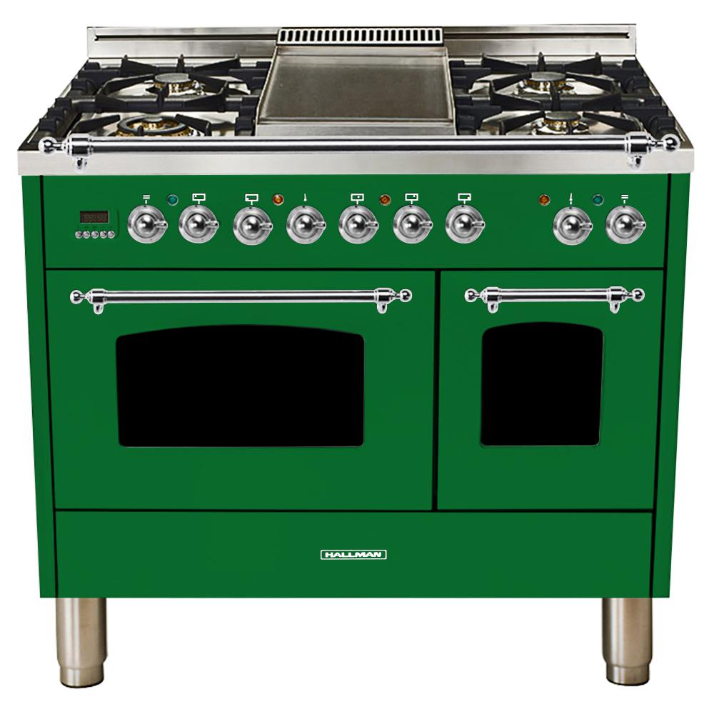 Hallman 40 in. 4.0 cu. ft. Double Oven Dual Fuel Italian Range True Convection,5 Burners, LP Gas, Chrome Trim/Emerald Green