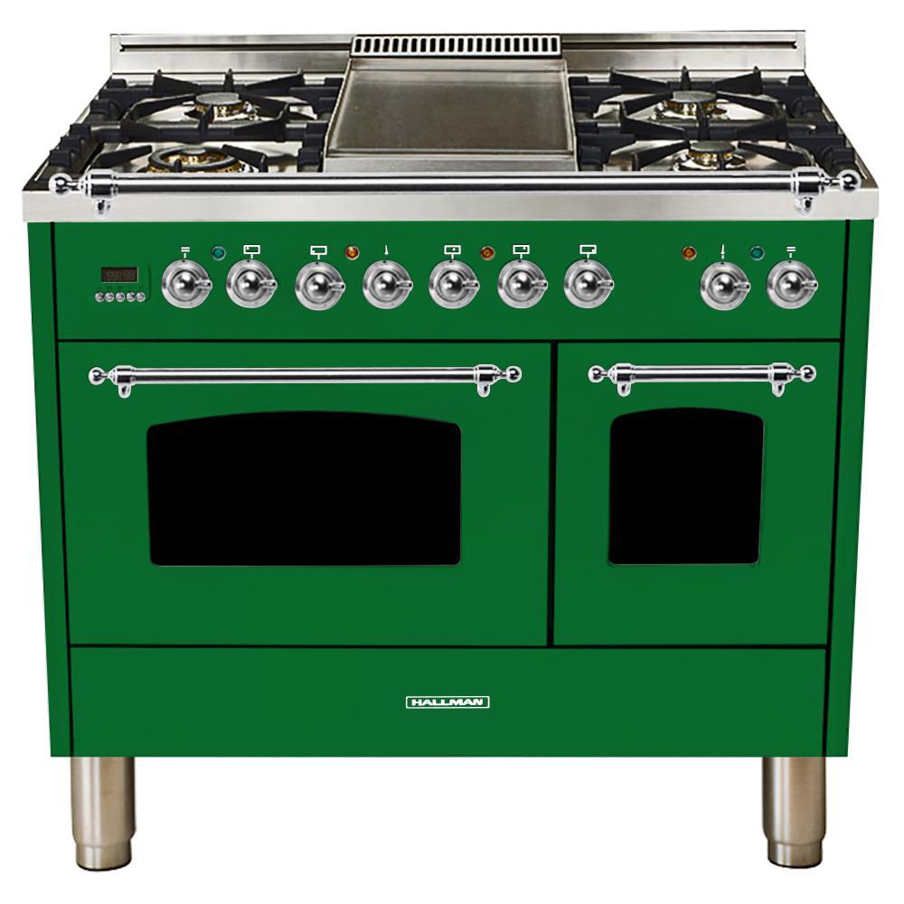 40 in. 4.0 cu. ft. Double Oven Dual Fuel Italian Range True Convection,5 Burners, LP Gas, Chrome Trim/Emerald Green