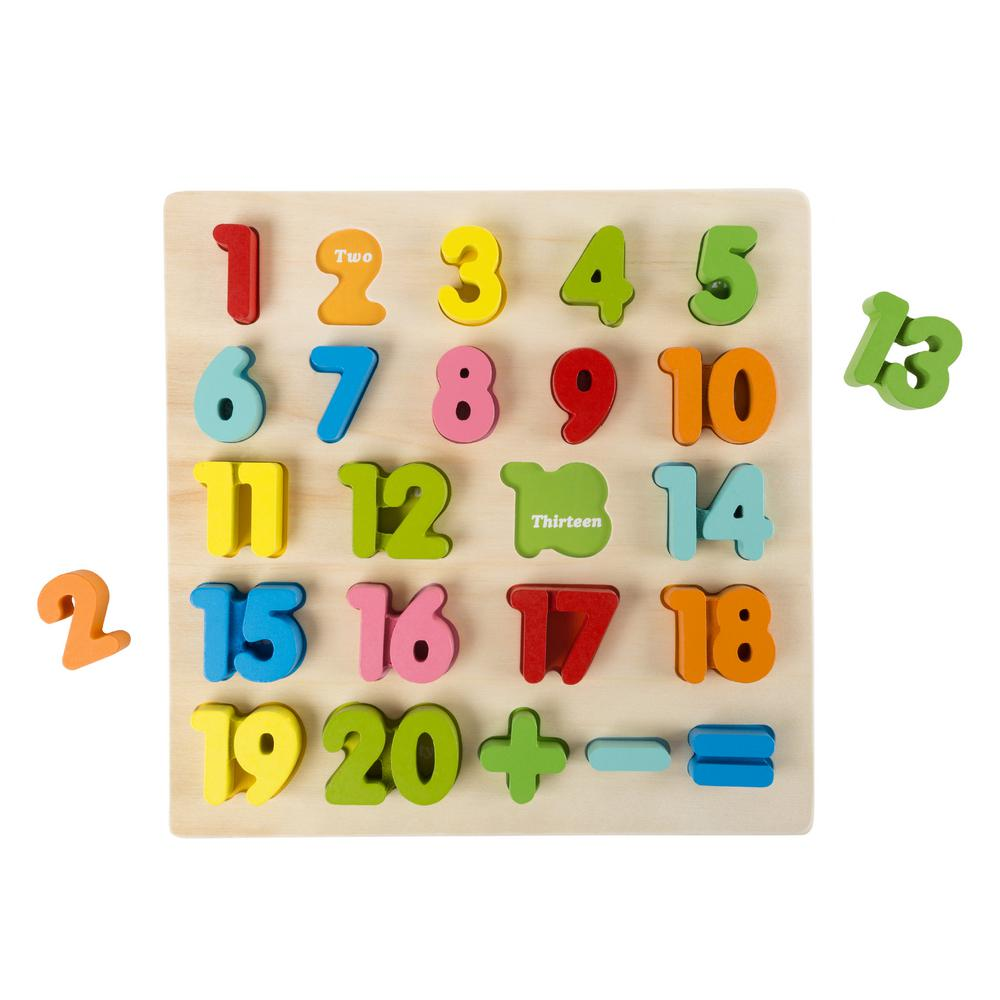 hey! play! wooden numbers learning puzzle board (stem basics)