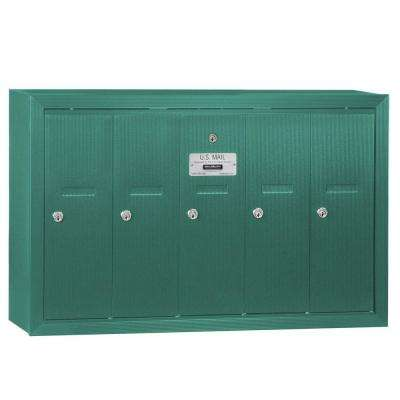 Green Surface-Mounted USPS Access Vertical Mailbox with 5 Doors