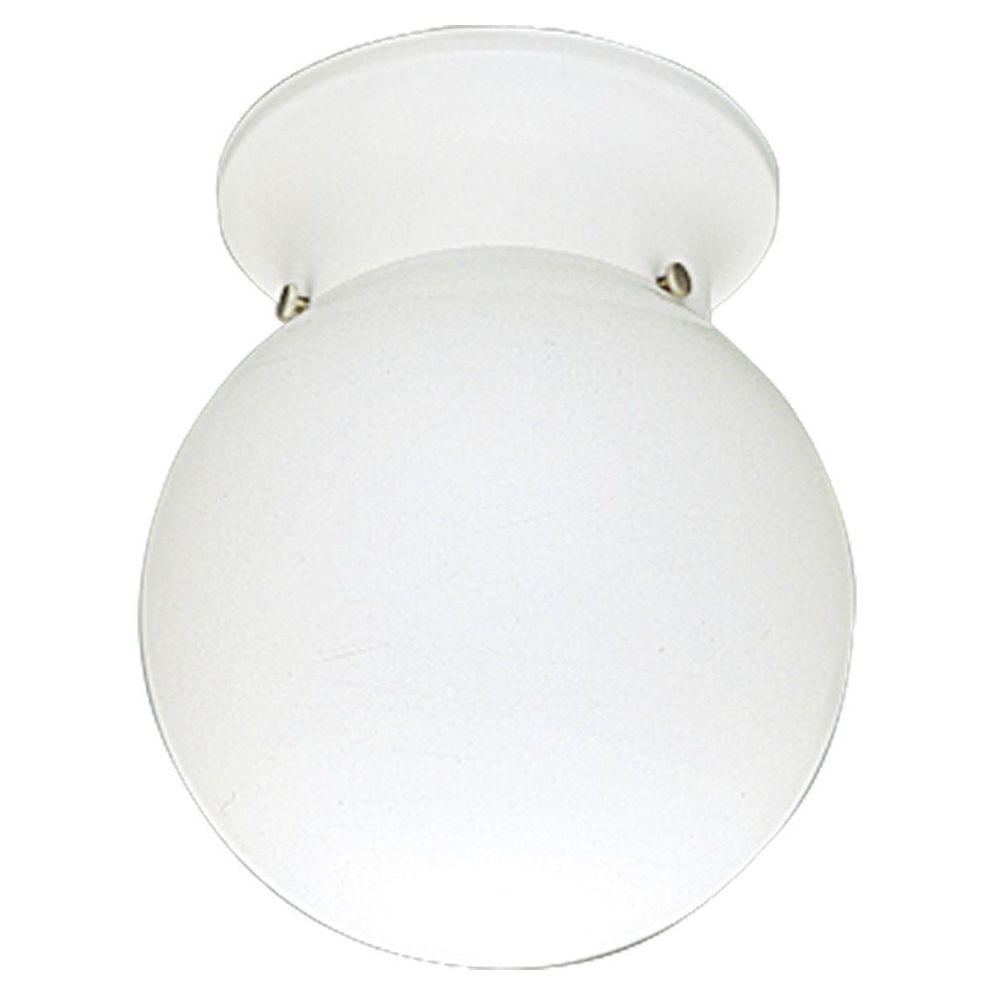 Progress Lighting White 1-Light Flushmount with White Glass