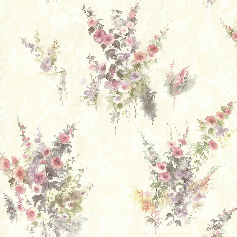 Brewster Quinn Purple Bouquet Floral Wallpaper Sample 2704