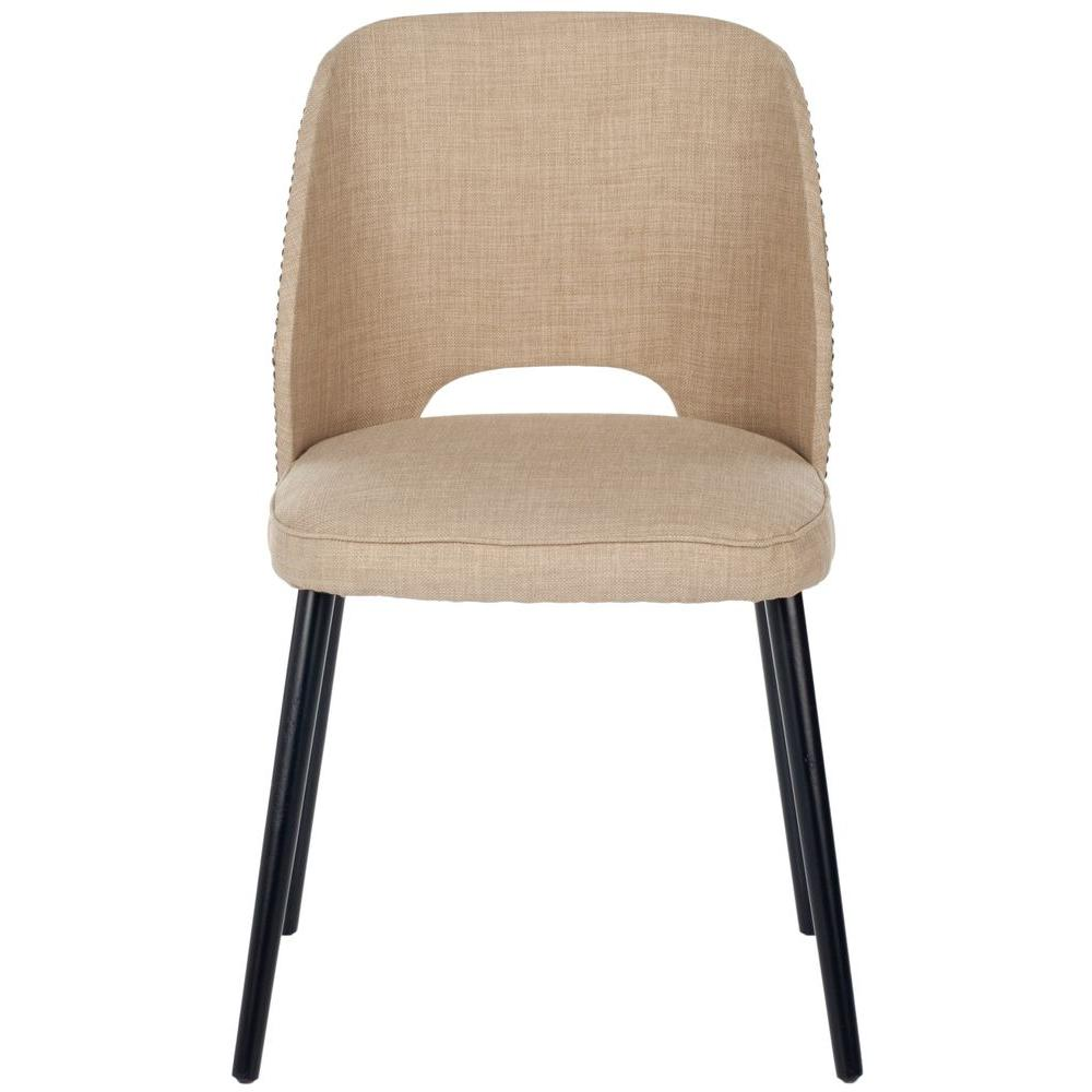 Safavieh Lizzie Beige Oak Linen-Poly Dining Chair (Set of 2)-DISCONTINUED