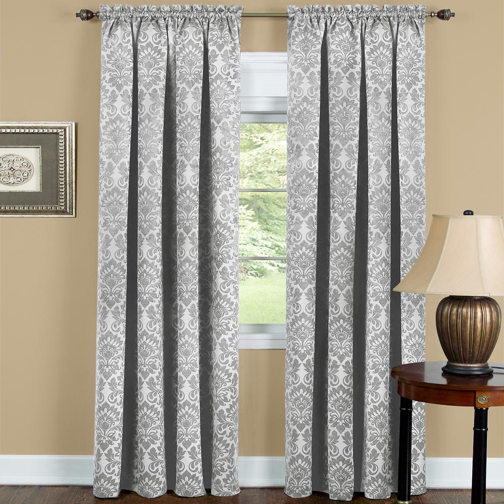 ACHIM Sutton 52 in. W x 63 in. L Polyester Blackout Curtain Panel in Silver