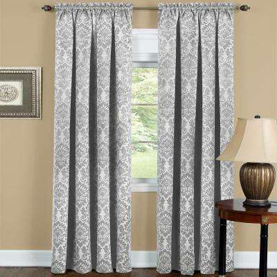 Sutton 52 in. W x 63 in. L Polyester Blackout Curtain Panel in Silver