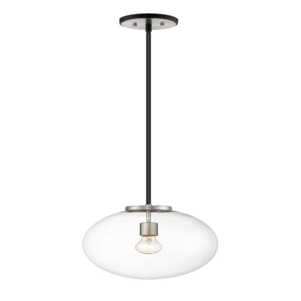 1-Light Matte Black and Brushed Nickel Pendant with Clear Glass Shade