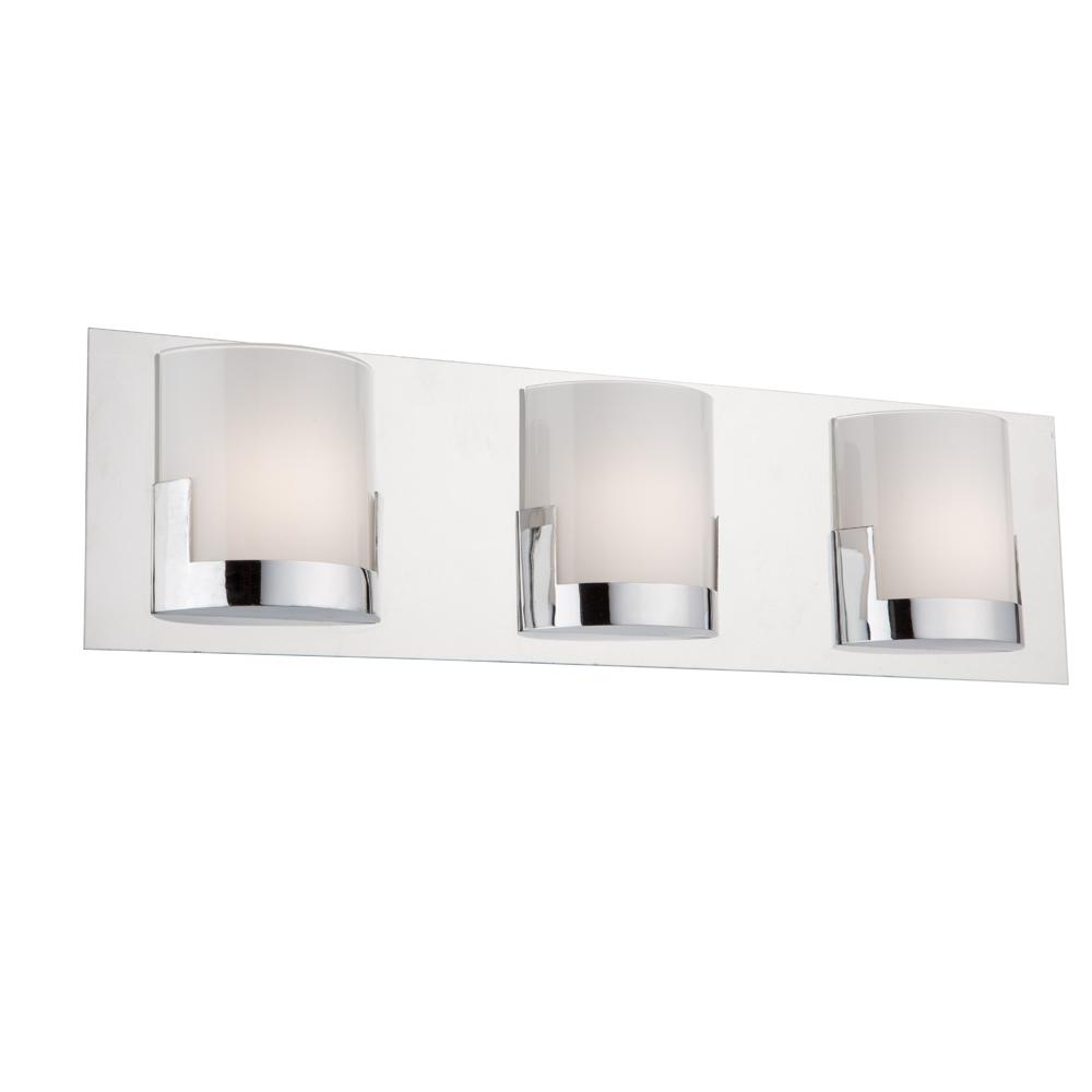 ARTCRAFT Rialto 3-Light Chrome Bath Light The  Rialto  collection of modern LED vanities is comprised of a chrome back plate with half cylindrical glassware. The glass is glossy white and stunning. (This model is ADA complaint)