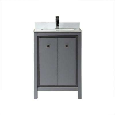 Kevin 24 in. W x 22 in. D Bath Vanity in Pebble Grey with Marble Vanity Top in White with White Basin