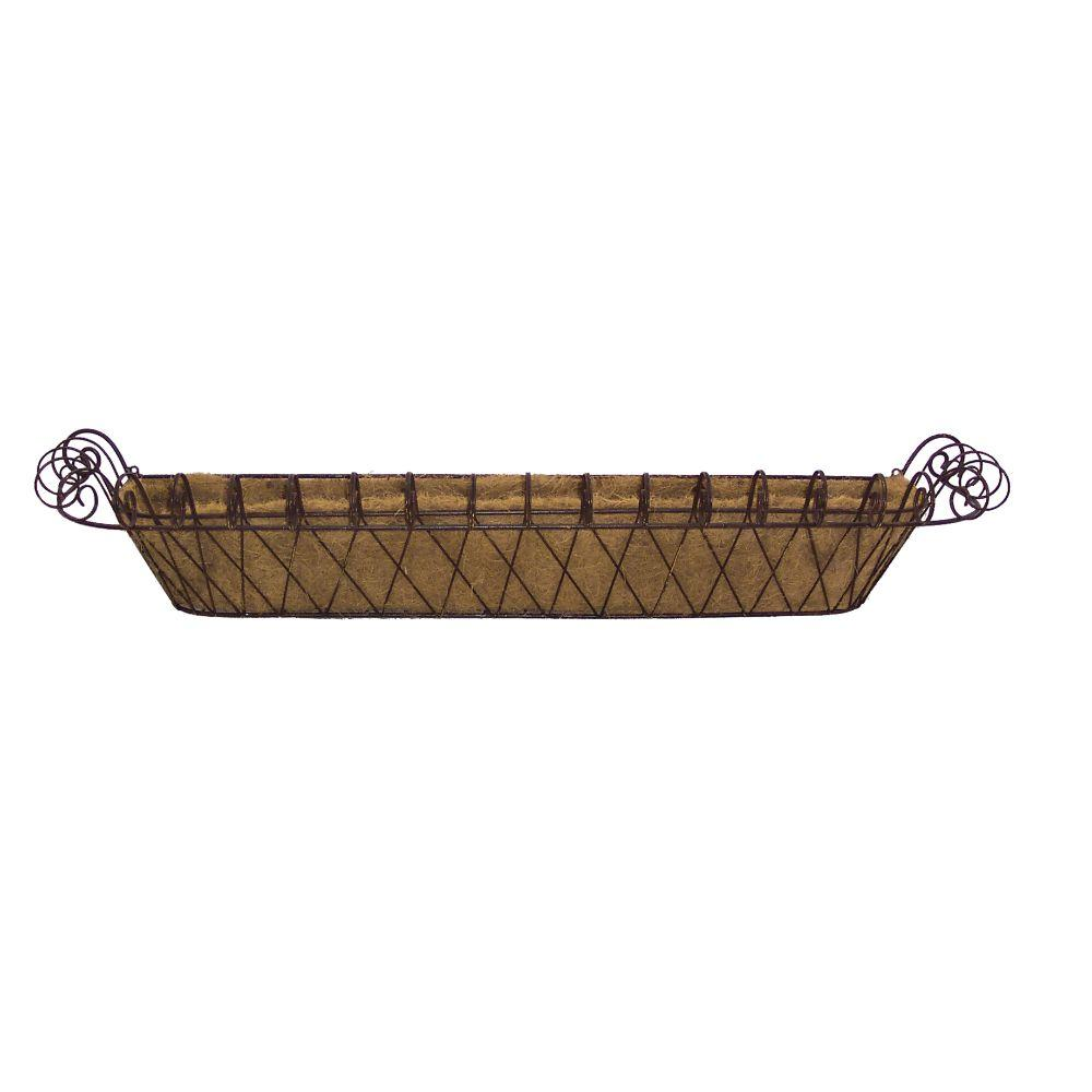Deer Park 11 in. x 46 in. Metal Large French Window Box with Coco Liner
