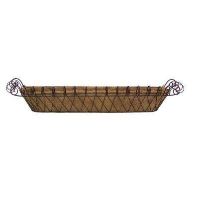 11 in. x 46 in. Metal Large French Window Box with Coco Liner