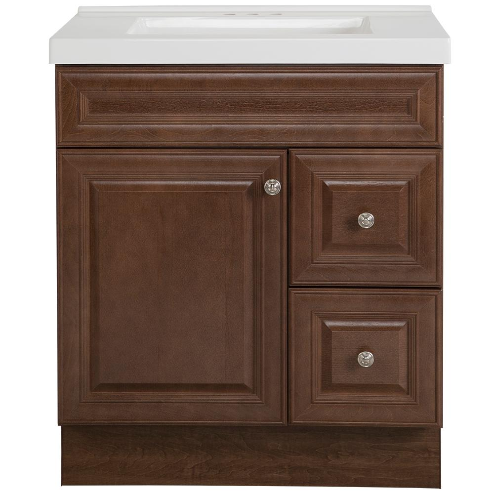 Glacier Bay Glensford 31 in. W x 22 in. D Bathroom Vanity in Butterscotch with Cultured Marble Vanity Top in White with White Sink