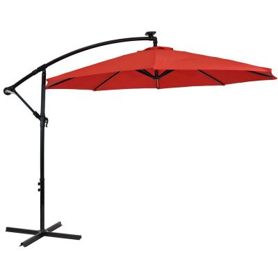 9.5 ft. Offset Cantilever Patio Umbrella in Cherry with Solar LED Lights