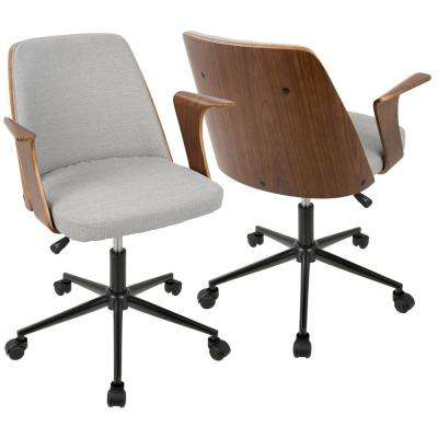 modern desk chair. Verdana Walnut And Grey Office Chair Modern Desk Chair