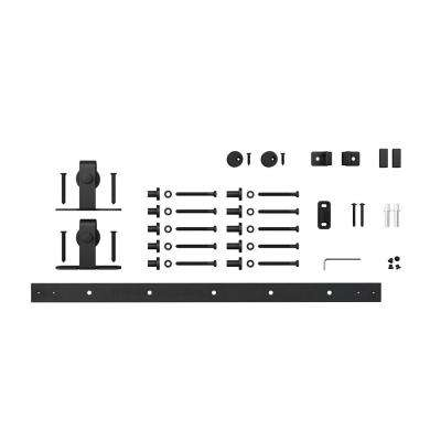 6 ft. Black Solid Steel Mini Sliding Rolling Barn Door Hardware Kit for Single Furniture Wood Doors