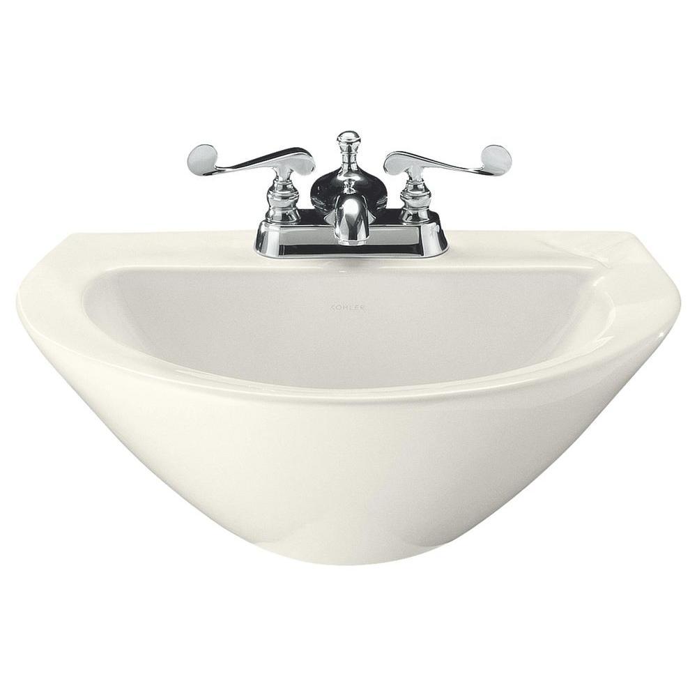 KOHLER Parigi 3-1/2 in. Vitreous China Pedestal Sink Basin in Biscuit with Overflow Drain