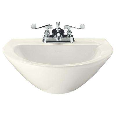 Parigi 3-1/2 in. Vitreous China Pedestal Sink Basin in Biscuit with Overflow Drain