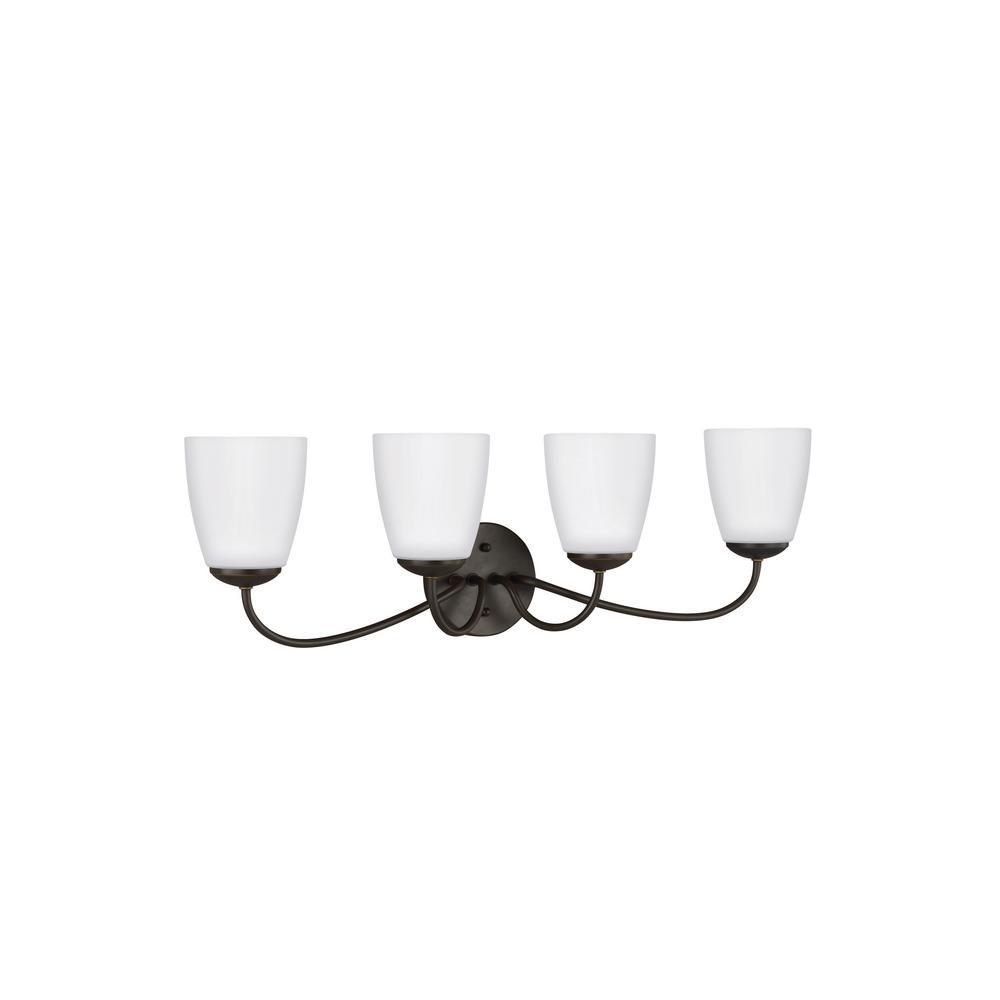 Sea Gull Lighting Bannock 4-Light Heirloom Bronze Bath Light with LED Bulbs