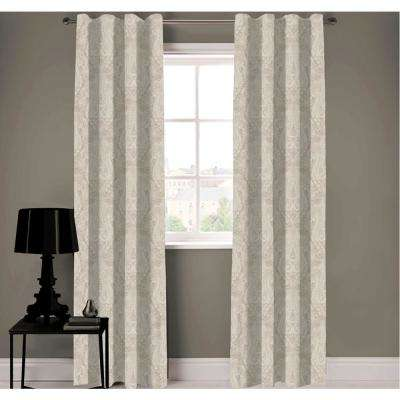 Neutral Paisley Designer Organic Cotton Drapery Panel in Beige - 50 in. x 96 in.