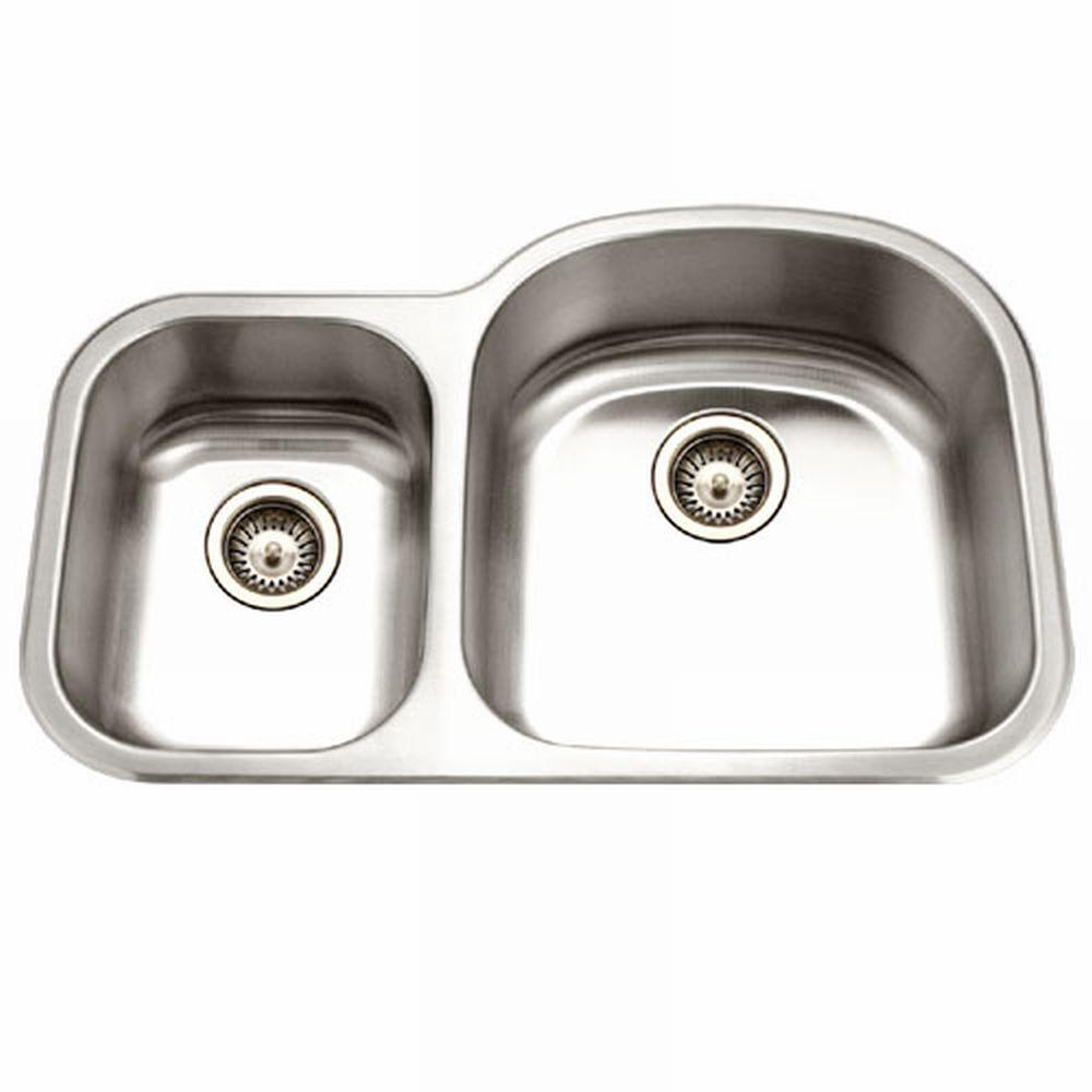 houzer medallion series undermount stainless steel 33 in double rh homedepot com single bowl kitchen sink with two drains