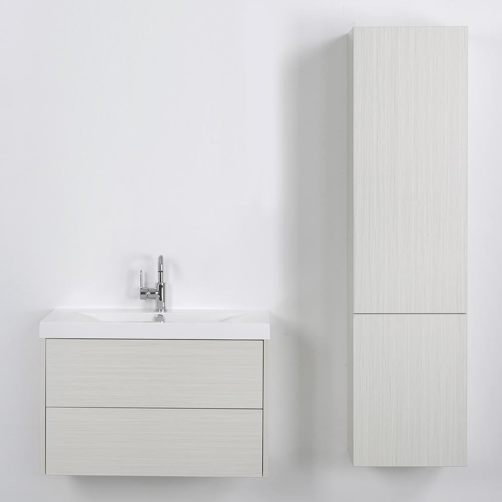 Streamline 31.5 in. W x 19.4 in. H Bath Vanity in Gray with Resin Vanity Top in White with White Basin