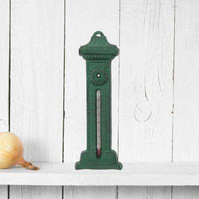 9 in. x 3 in. Green Cast Iron Thermometer