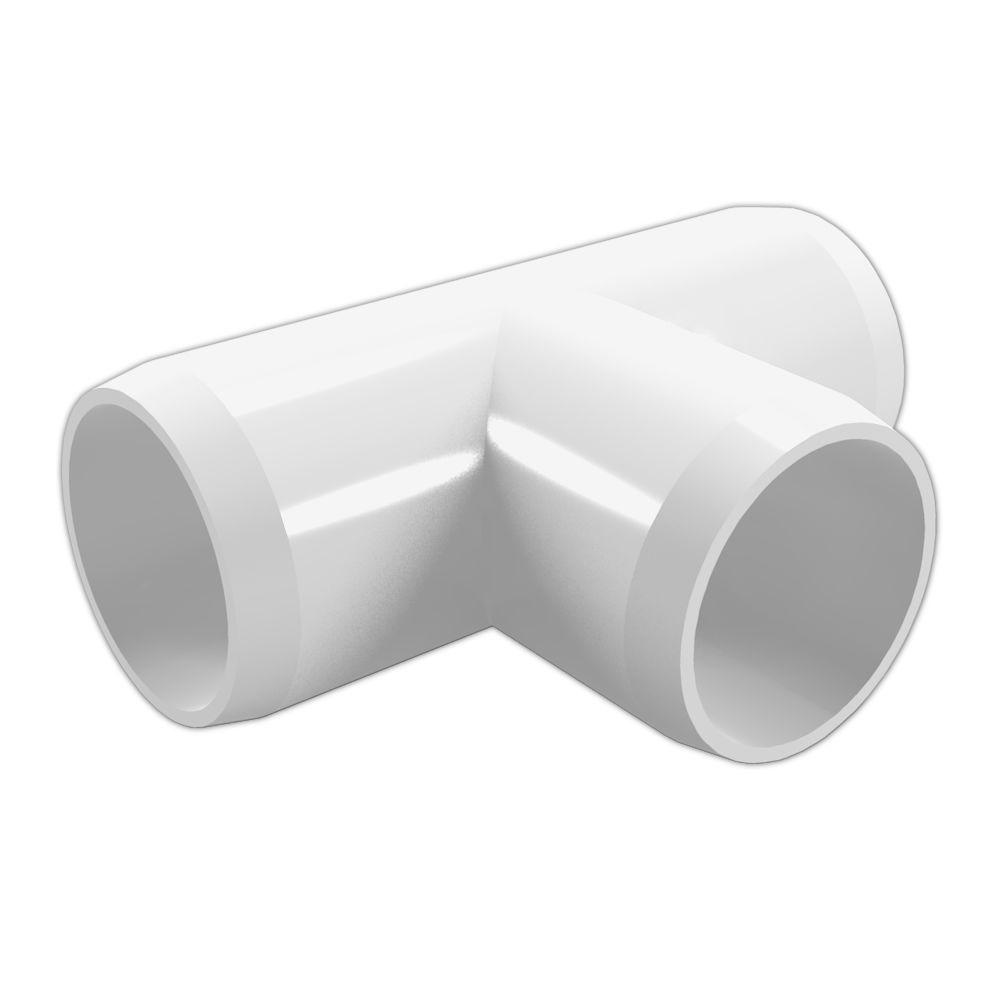 Formufit 2 in. Furniture Grade PVC Tee in White (4-Pack)