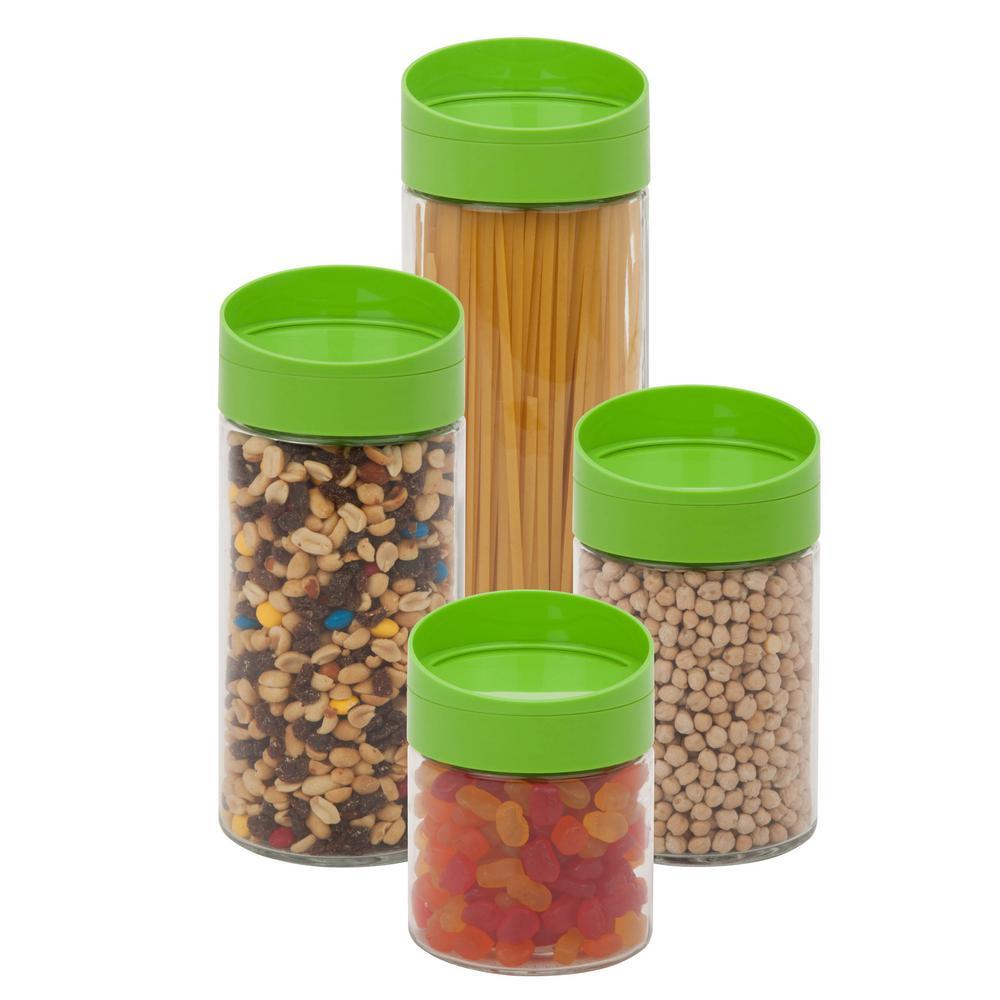 4-Piece 850ml, 1250ml, 1700ml and 2200ml Glass Storage Jar Set with Green Twist with Lids