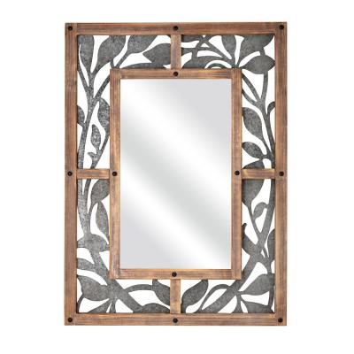 Wood and Metal Rectangle Floral Frame Mirror