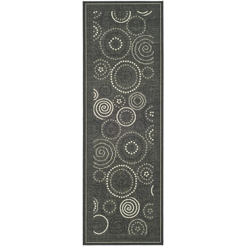 Safavieh courtyard black sand 2 ft x 14 ft indoor for Indoor outdoor runners rugs