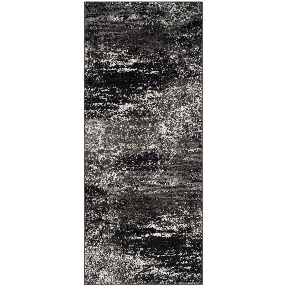 Adirondack Silver/Black 3 ft. x 6 ft. Runner Rug
