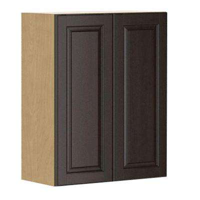 Ready to Assemble 24x30x12.5 in. Naples Wall Cabinet in Maple Melamine and Door in Dark Brown